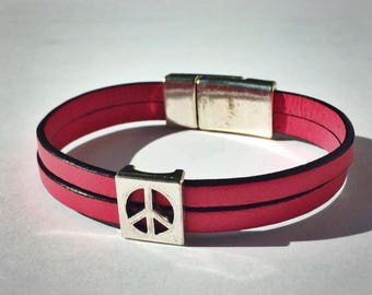 Light Pink 2-Strand Leather Bracelet with Peace Sign & Silver Magnetic Clasp