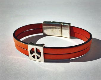 Orange 2-Strand Leather Bracelet with Peace Sign & Silver Magnetic Clasp