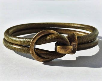 Organic Green 5mm Round Leather Bracelet with Brass Buckle Clasp