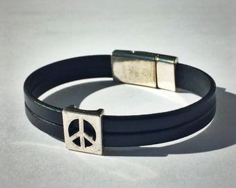 Black 2-Strand Leather Bracelet with Peace Sign & Silver Magnetic Clasp