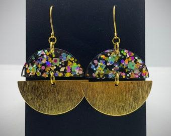 Glitter Resin and Textured Brass Earrings