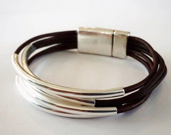 Assorted Five-Strand Leather Bracelets with Silver-Plated Tube Beads