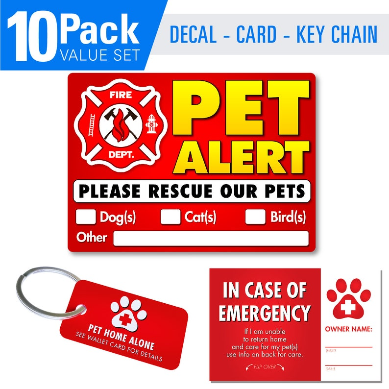 Awesome Pet Alert Stickers Fire Safety Alert And Rescue 10 Pack Save Your Pets Encase Of Emergency Or Danger Beutiful Home Inspiration Aditmahrainfo