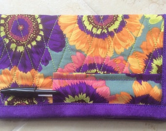 Purple Checkbook with Pen Holder Floral Checkbook Cover Handmade Fabric Checkbook Quilted Checkbook Cover Quilted  Checkbook