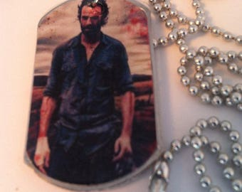 Rick Grimes The Walking Dead Handmade Dog Tag Necklace