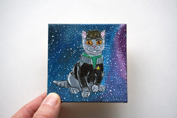 Riker Gray Cat Acrylic Painting by Amber Maki Commander William T