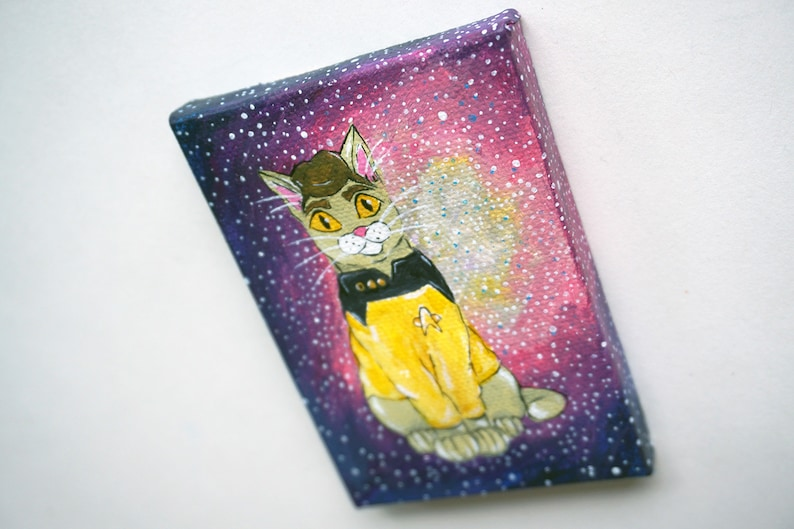 Lieutenant Commander Data Droid Cat Acrylic Painting by Amber Maki