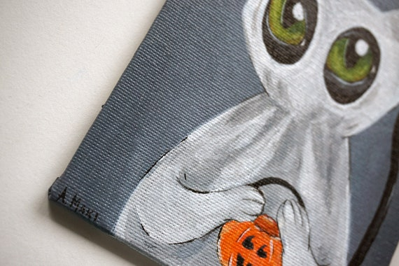 Black Cat in the Pumpkin Patch Acrylic Painting on Reclaimed Wood by Amber Maki