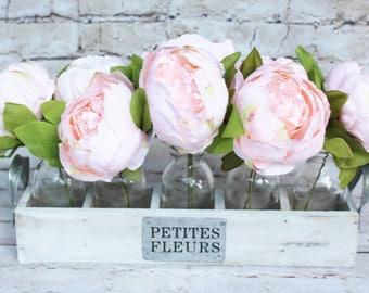 Pink peonies etsy pink peonies flowers pink flowers pink peonies centerpiece acrylic water arrangement peonies in faux water petites fleurs crate mightylinksfo