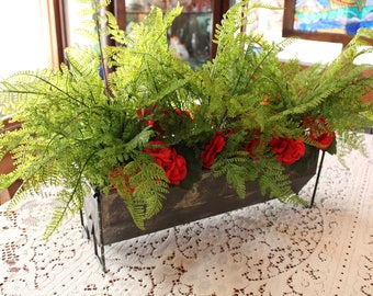 Leather Ferns and Red Geraniums Arranged in a Rustic Galvanized Metal Trough Planter, Rustic Woodland Flora, UV Protected Plants