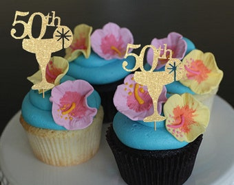 Maragarita Cupcake Toppersluau Toppers 50th Cup Cake Topper Tropical ToppersIsland Party Decor Island Birthday Fiesta
