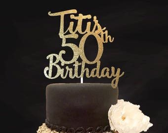 50th Birthday Cake Topper CenterpieceAny Age Decoration Custom