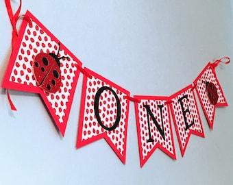 Ladybug Banner First Birthday Lovebug One Decorations Valentines Cake Topper