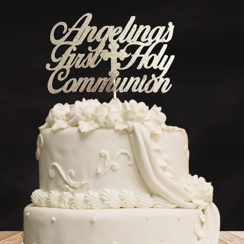 God Bless Cake Topper Atelier Elegance Any Name Baptism First Communion Cake Topper