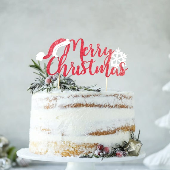 Pleasant Christmas Birthday Cake Topper Santa Cake Topper Christmas Etsy Personalised Birthday Cards Veneteletsinfo