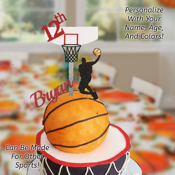 Brilliant Basketball Cake Topper Basketball Birthday Cake Topper Etsy Funny Birthday Cards Online Aeocydamsfinfo