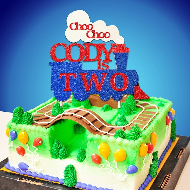 Train Cake TopperTrain BirthdayTrain Birthday PartyChoo ChooTrain CakeTrain Smash CakeTwo Party Decor
