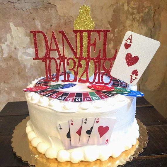 Magnificent Grooms Cake Poker Cake Topper Gambling Cake Topper Casino Etsy Funny Birthday Cards Online Unhofree Goldxyz