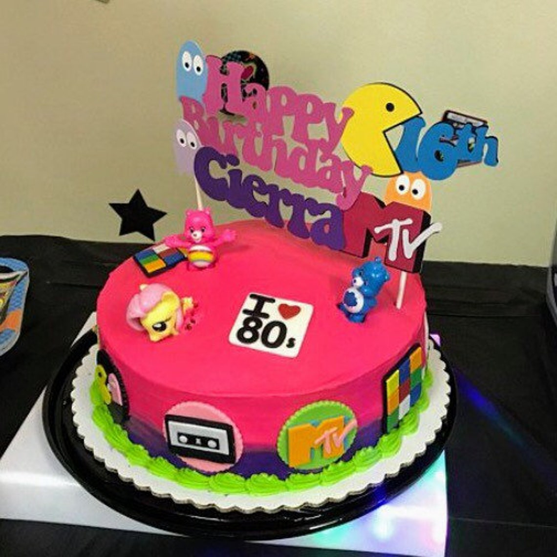 80s Theme Birthday 50th Cake Topper CenterpieceAny Age Pacman Decoration Custom