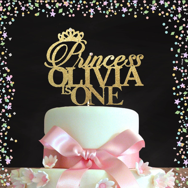 Princess Birthday Topper First Cake Gold