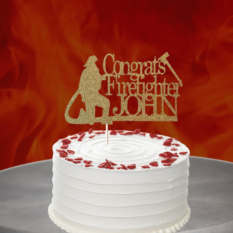 211b Glitter Acrylic Glitter Officially Retired Firefighter Cake Topper Retirement Cake Topper