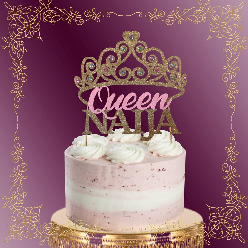 Princess Birthday Cake Topper Any Gold