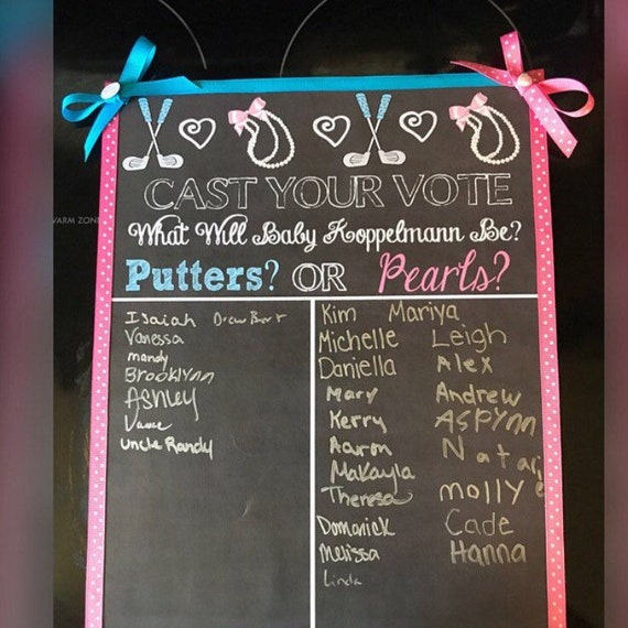 Putters or Pearls chalkboard style gender reveal pins with Pink and Blue.