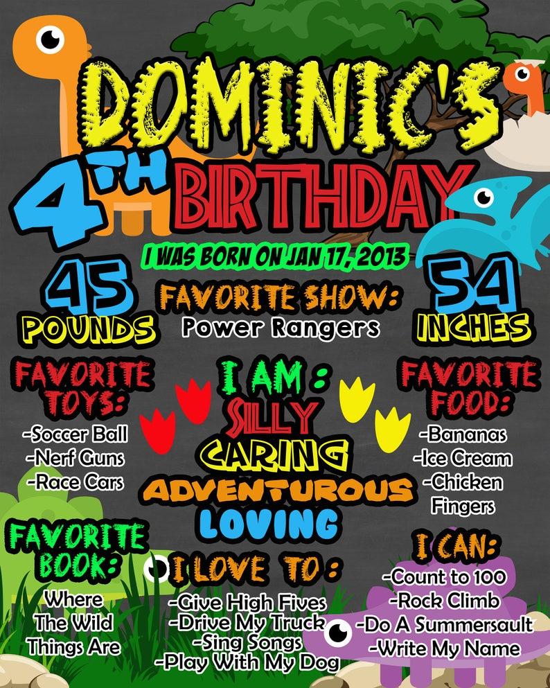 Dinosaur 1st Birthday Photo Prop First Birthday Personalized Dinosaur Chalkboard Poster Printable Dinosaur Birthday Sign First Birthday