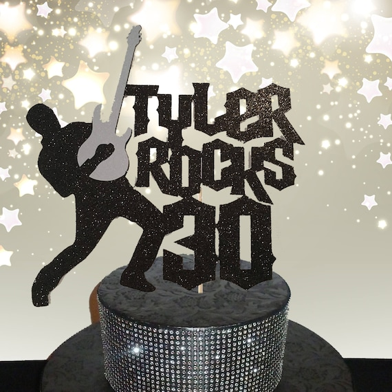 Terrific Rock And Roll Cake Topperrock Cake Topper 30Th Birthday Cake Etsy Birthday Cards Printable Opercafe Filternl