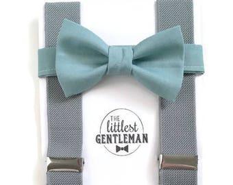 slate blue bow tie and suspender set, boys peach bow tie, kids, toddler, blue wedding, ring bearer, page boy, vintage wedding ring bearer