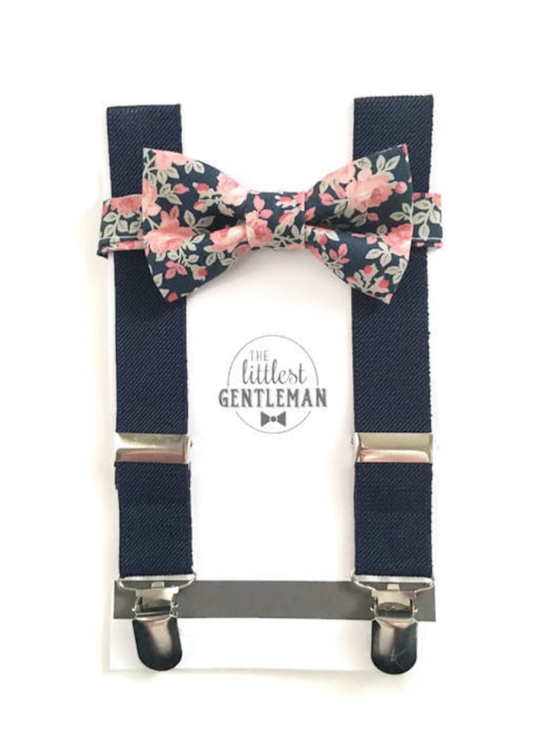 3fbd17aa1e16c boys floral bow tie and suspenders set , baby boy navy suspenders,  suspenders, ring bearer outfit, page boy, braces, boys wedding bow tie