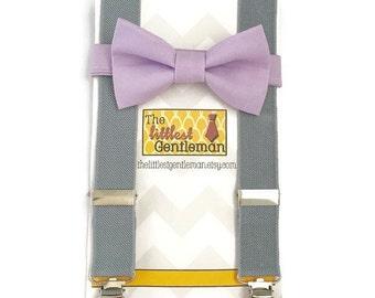 lavender bow tie suspenders set, purple bow tie suspenders set, kids toddler boy suspenders, wedding bow tie suspenders set lavender wedding