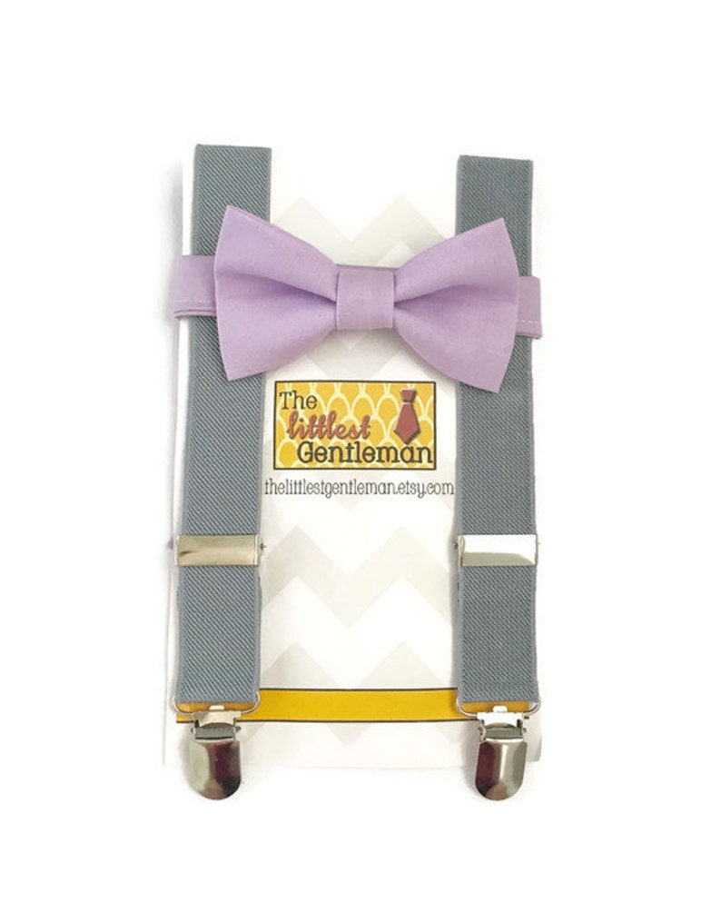 lavender bow tie suspenders set purple bow tie suspenders image 0