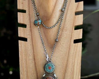 Antique Coral and Turquoise Tibetan Pendant