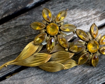 Citrine Joseff Flower Pin