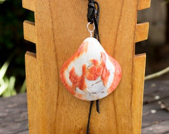 White Braided Leather Shell Necklace
