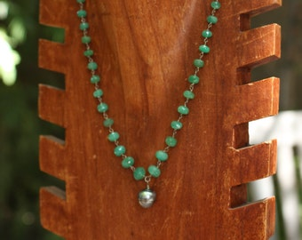 Emerald and Tahitian Pearl Necklace