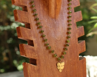 Peridot and Gold Leaf Necklace
