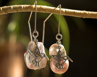 Pearl Earrings with Hummingbird Charms