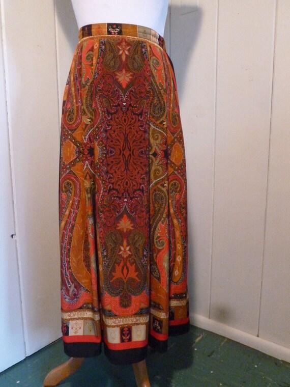 1970s Vintage Boho Full Length Skirt