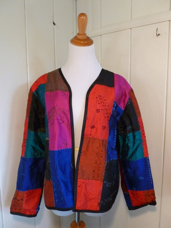 Chico's 90's Silk Embroidered Patchwork Jacket