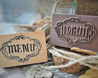 "Wooden rubber stamp ""menu"" birthday, wedding, party new"