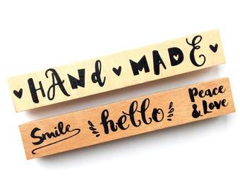 Tampons en bois bordure, message, lot de deux NEUF