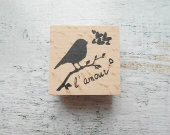 """Wooden rubber stamp """"bird with love text""""-sold individually"""