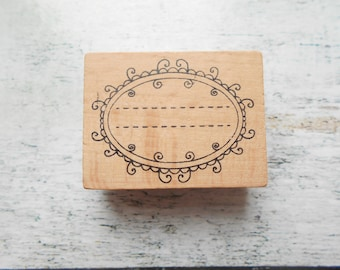 """Wooden rubber stamp """"label"""" new"""