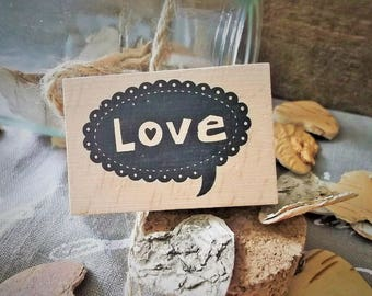 """Wooden rubber stamp """"Love"""" new love theme"""