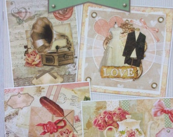 Book to make 14 3D vintage new theme cards