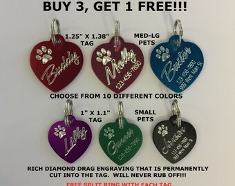 Custom Engraved HEART Pet Tag Dog Cat ID Name Animal Shelter Rescue 10 COLORS