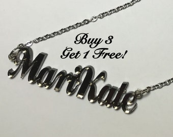 Name Necklace Acrylic Personalized FREE Shipping  22 Colors Buy 3 get 1 FREE