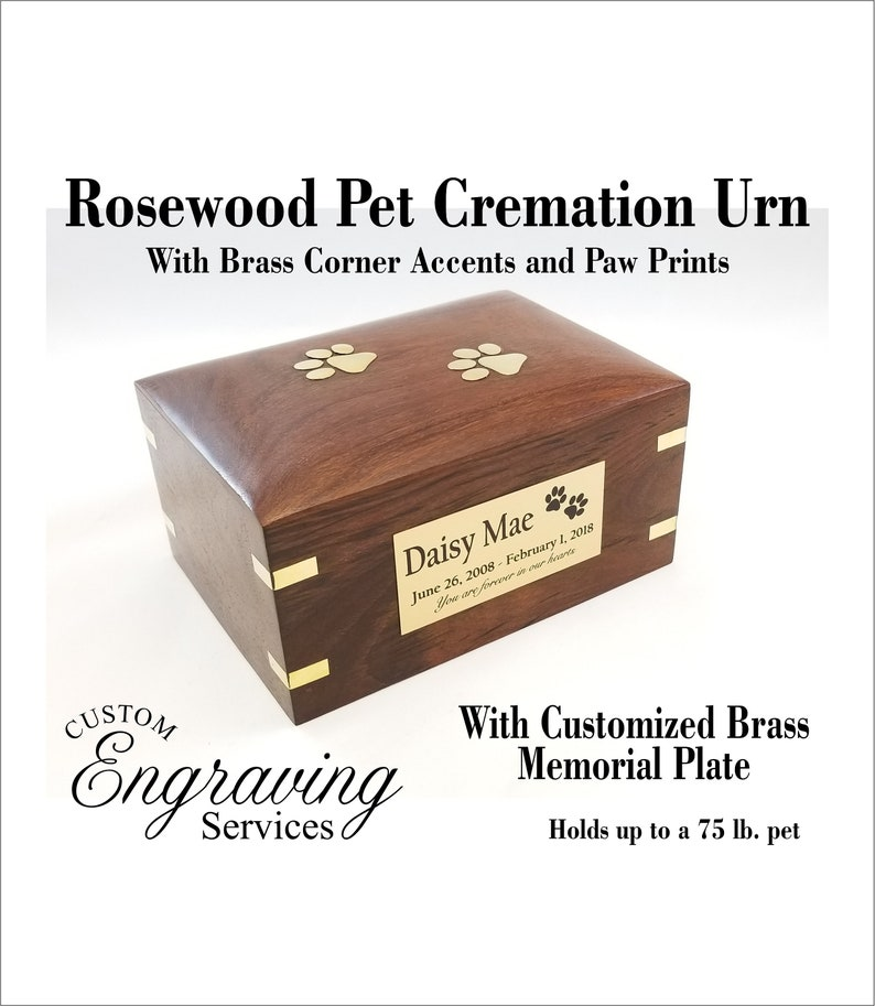 PET CREMATION URN ROSEWOOD URN WITH BRASS CORNER ACCENTS ROSEWOOD35-FRONT1